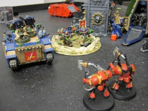 Oblits begin to stall out the Kingbreakers' flanking rush.