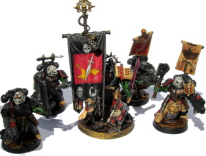 Librarian Rorschach, Sgt Harmon, and a few of the Kingbreakers' Sternguard.