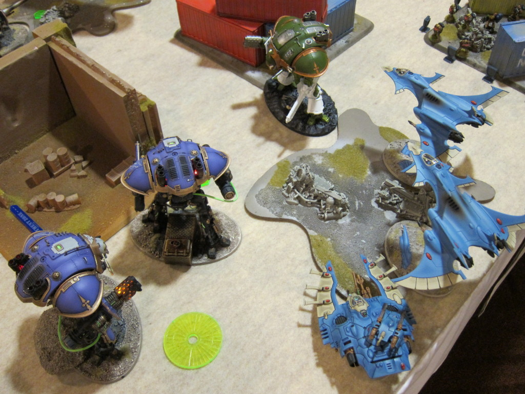 My lonely Knight is taken down yet again, this time by Joe Johnson's gorgeous army of Knights+Eldar buddies.