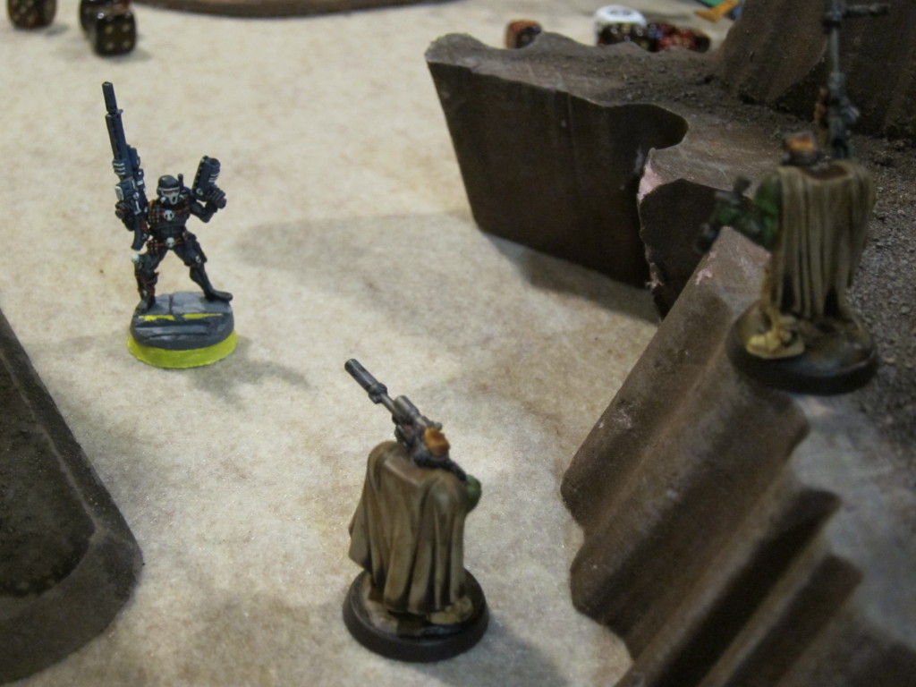 Scouts warily approach an Imperial double agent (for the covert mission this guy flipped sides).