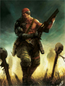 Colonel Straken.  He lost his arm to a landshark.  No, seriously.  That's its skull on his side.