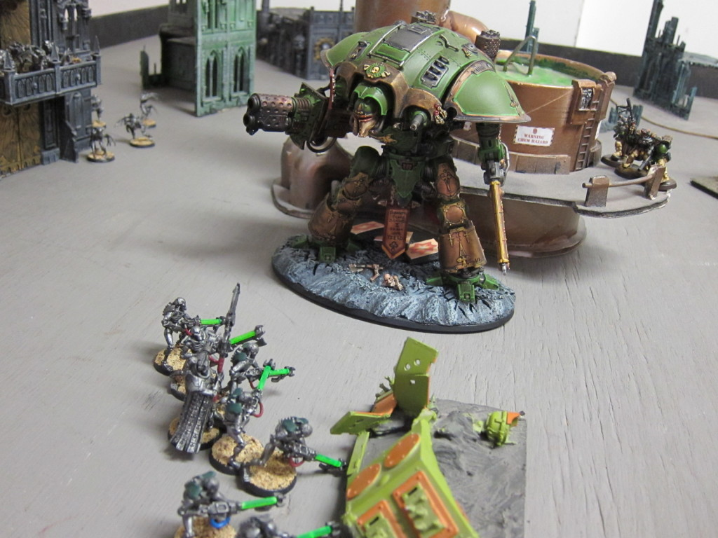 The Knight Errant Greenheart fights Necron among the colony's installations.