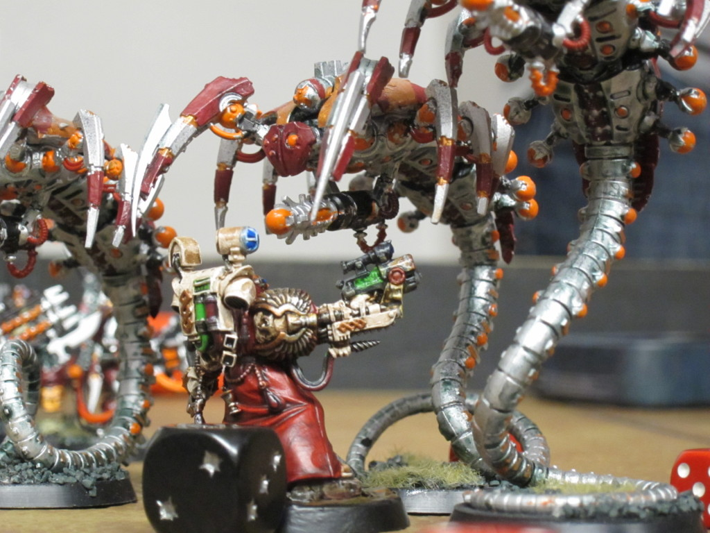 Master Apothecary Sauvon of the Kingbreakers singlehandedly holds back a flight of Necron Wraiths on their way to a key objective.