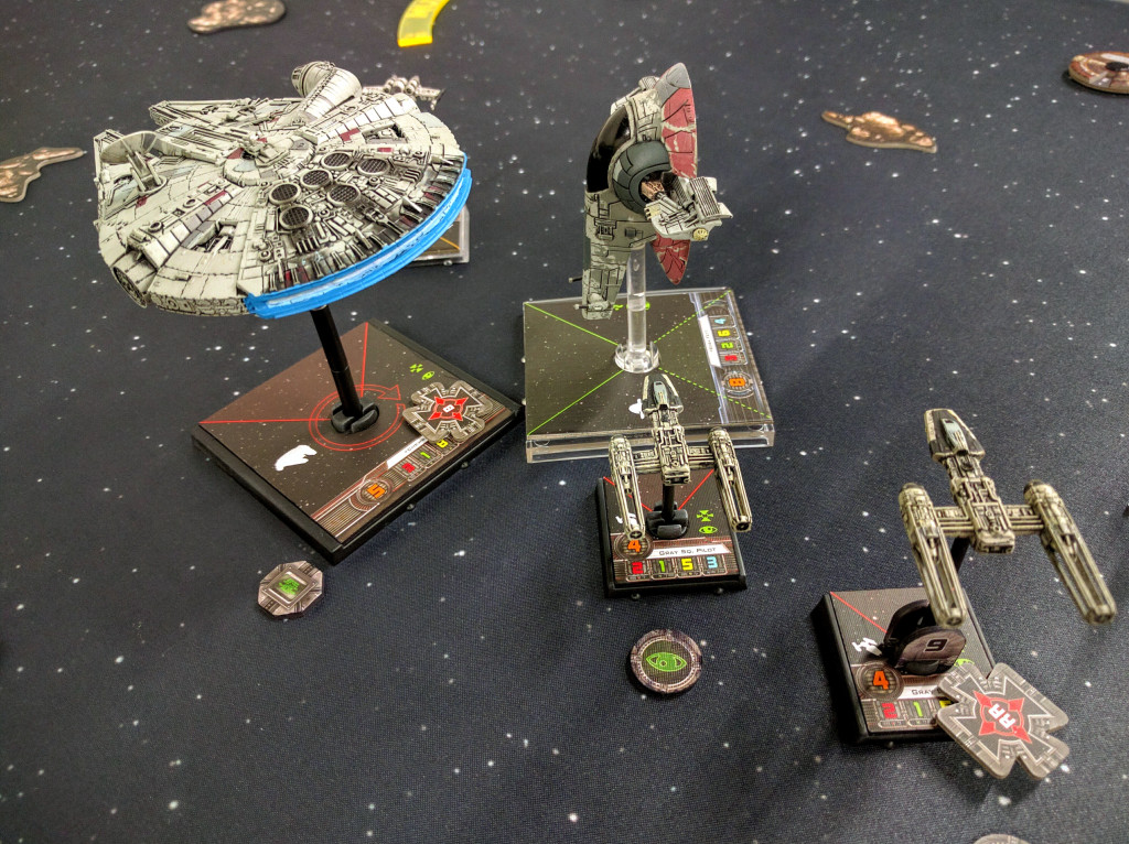 Chewie dogfights Boba while Gray Squadron intercepts.
