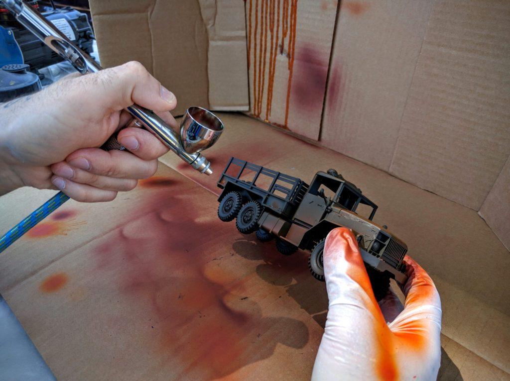 The Medea mini-diorama truck in progress.