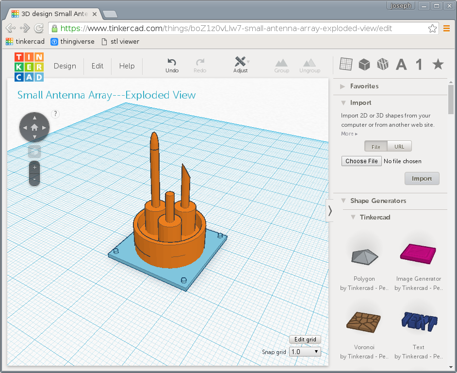 The finished antenna array in TinkerCAD.