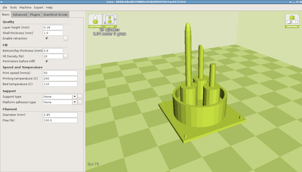 The antenna ready to print in Cura, a popular slicing and control package.