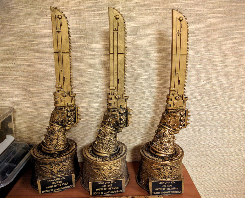40k Trios chainsword trophies, straight from Nottingham.