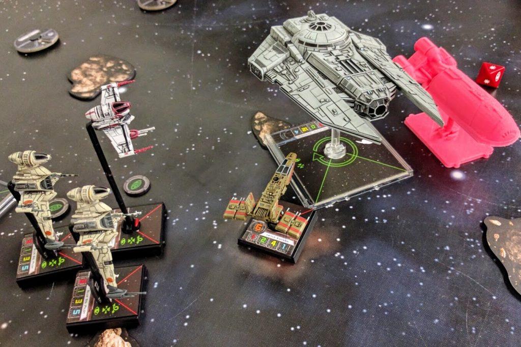 A Decimator shields a VIP Shuttle from Rebel scum attackers.