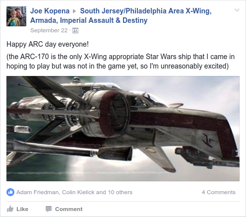 I am very, very excited about B-Wings, the HWK-290, and the ARC-170, my favorite Star Wars ships, and was very pumped when the latter was finally released.
