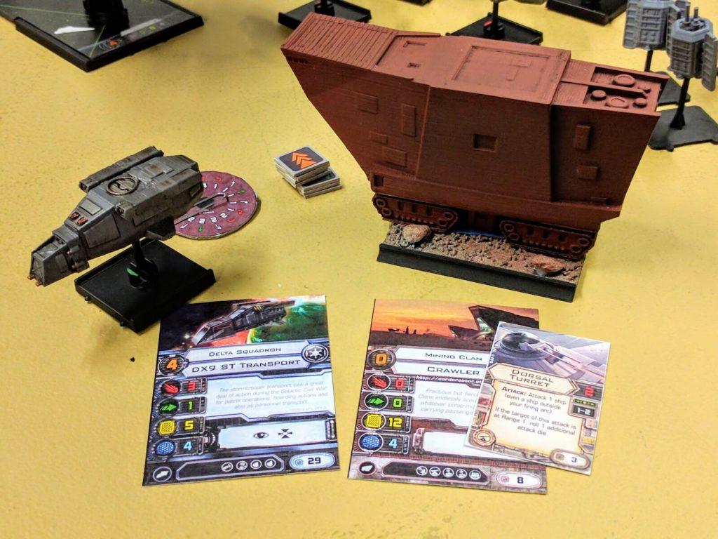 DX-9 assault craft and Mining Clan Crawler (both 3D printed).