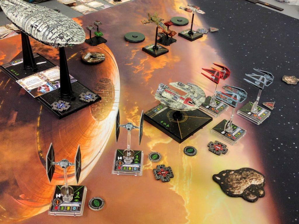 TIEs swoop in, destroying Rebel Cargo Pods unloaded from a GR-75.