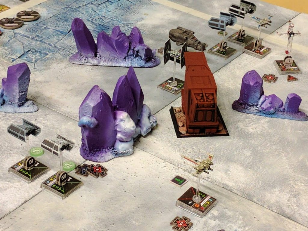 The battle develops among the ice world's crystal spires.