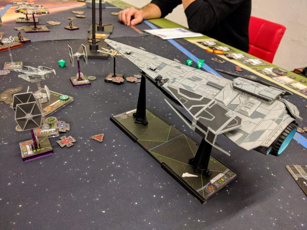 An Imperial Raider comes to bear on the Rebel fleet.
